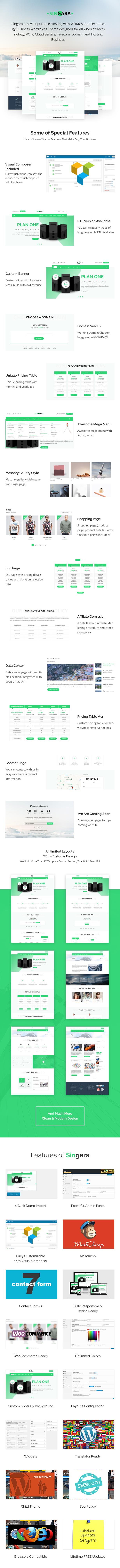 Singara – Multipurpose Hosting with WHMCS WordPress Themes, Gobase64